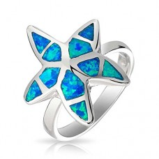 Bling Jewelry Hawaiian Synthetic Blue Opal Nautical Starfish Ring 925 Silver