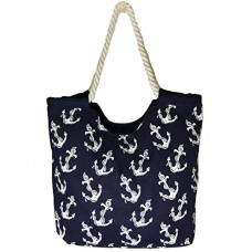 High Quality Zippered, White Anchor Prints over Blue Background, Rope Handle, Large Roomy Canvas Tote Beach Bag