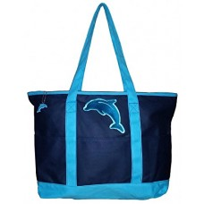 Large Embroidered Ocean Themed Zipper Top Beach Bag Tote (Blue Dolphin)