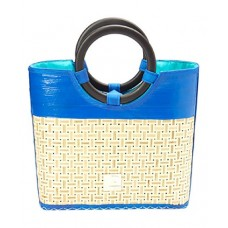 Recycled Beach Stylista Straw Bag/ Bamboo Handles Blue